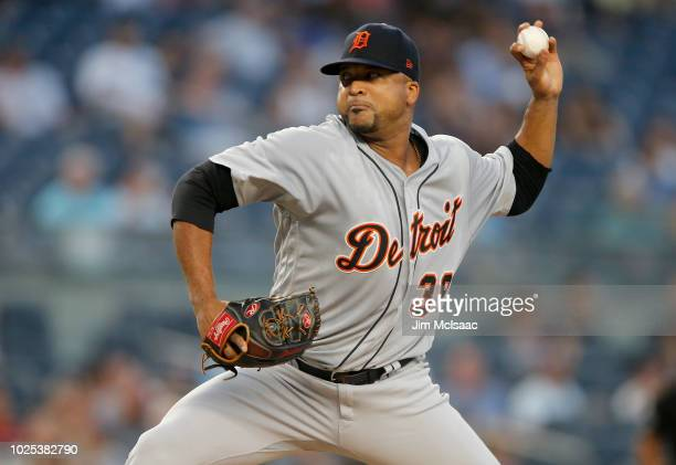 Francisco Liriano of the Detroit Tigers pitches in the first inning against the New York Yankees at Yankee Stadium on August 30 2018 in the Bronx...