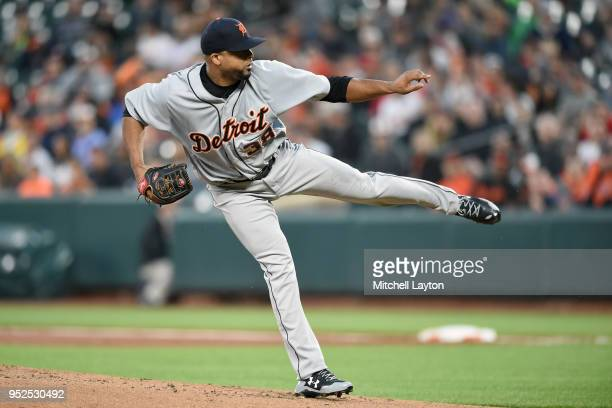 Francisco Liriano of the Detroit Tigers pitches in the first inning during a baseball game against the Baltimore Orioles at Oriole Park at Camden...