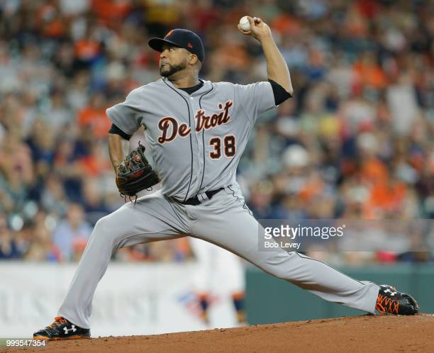 Francisco Liriano of the Detroit Tigers pitches in the first inning against the Houston Astros at Minute Maid Park on July 15 2018 in Houston Texas