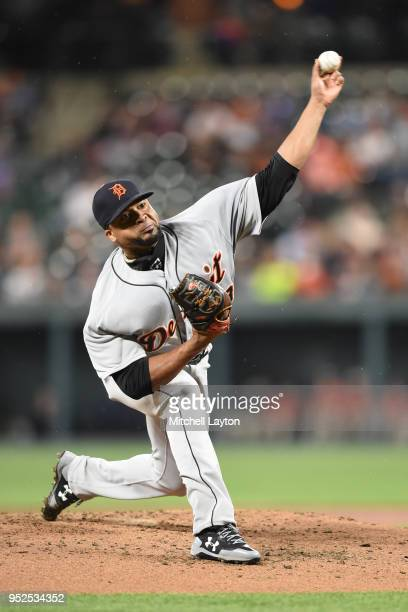 Francisco Liriano of the Detroit Tigers pitches in the second inning during a baseball game against the Baltimore Orioles at Oriole Park at Camden...