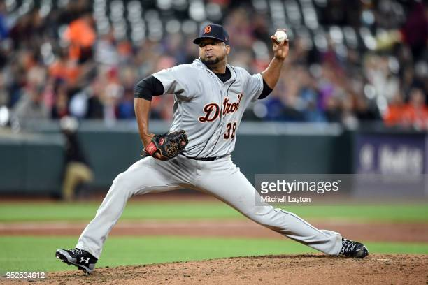 Francisco Liriano of the Detroit Tigers pitches in the third inning during a baseball game against the Baltimore Orioles at Oriole Park at Camden...