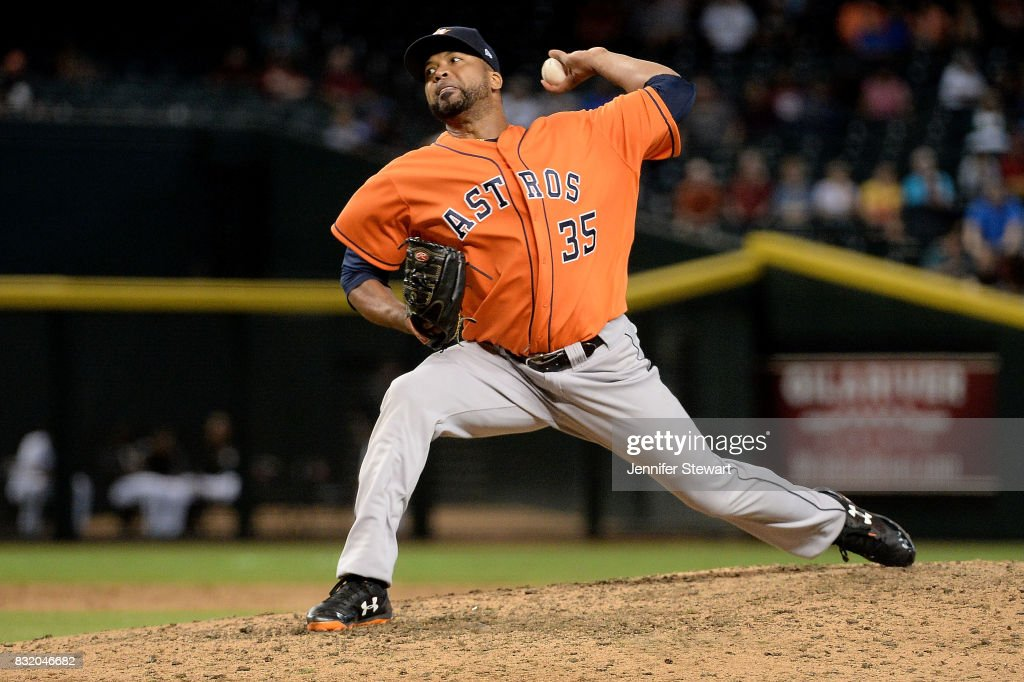 Francisco Liriano #35 of the Houston Astros delivers a pitch in the ninth inning of the MLB game against the Arizona Diamondbacks at Chase Field on August 15, 2017 in Phoenix, Arizona.
