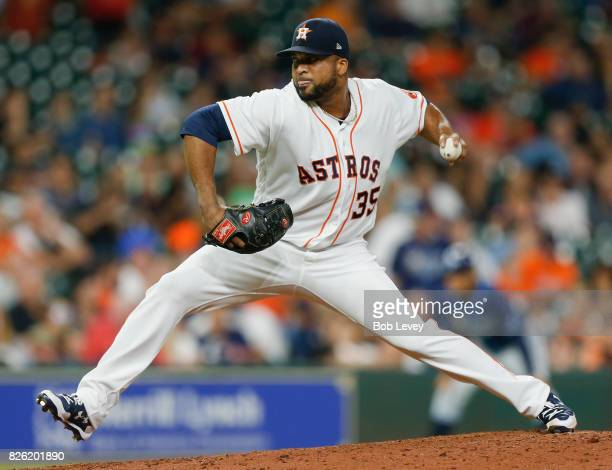 Francisco Liriano of the Houston Astros pitches in the seventh inning against the Tampa Bay Rays at Minute Maid Park on August 3 2017 in Houston Texas