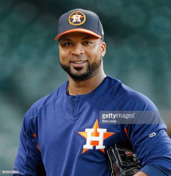 Francisco Liriano of the Houston Astros warms up during batting practice at Minute Maid Park on August 1 2017 in Houston Texas