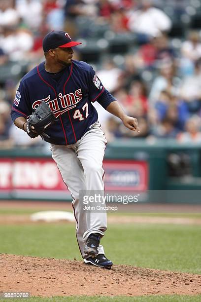 Francisco Liriano of the Minnesota Twins delivers a pitch during the game between the Minnesota Twins and the Cleveland Indians on Sunday May 2 at...