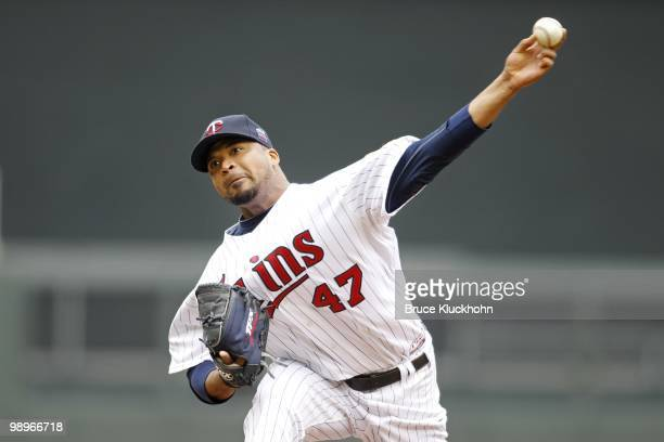 Francisco Liriano of the Minnesota Twins pitches to the Baltimore Orioles on May 8 2010 at Target Field in Minneapolis Minnesota The Orioles won 73