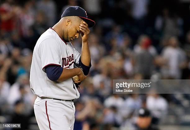 Francisco Liriano of the Minnesota Twins reacts during the game against the New York Yankees at Yankee Stadium on April 17 2012 in the Bronx borough...