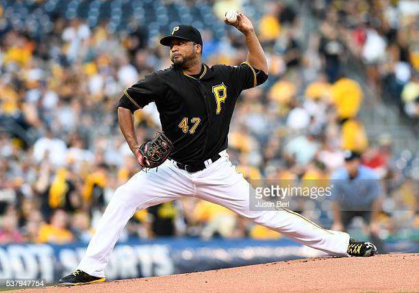 Francisco Liriano of the Pittsburgh Pirates delivers a pitch in the first inning during the game against the Los Angeles Angels of Anaheim at PNC...