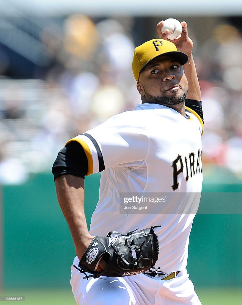 Francisco Liriano #47 of the Pittsburgh Pirates pitches against the Washington Nationals on May 25, 2014 at PNC Park in Pittsburgh, Pennsylvania.