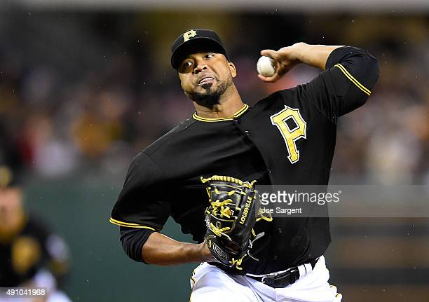 Francisco Liriano of the Pittsburgh Pirates pitches during the first inning against the Cincinnati Reds on October 2 2015 at PNC Park in Pittsburgh...