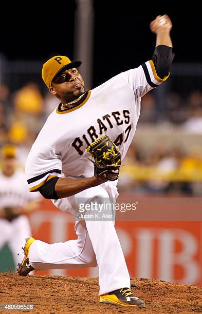 Francisco Liriano of the Pittsburgh Pirates pitches during the game against the St Louis Cardinals at PNC Park on July 12 2015 in Pittsburgh...
