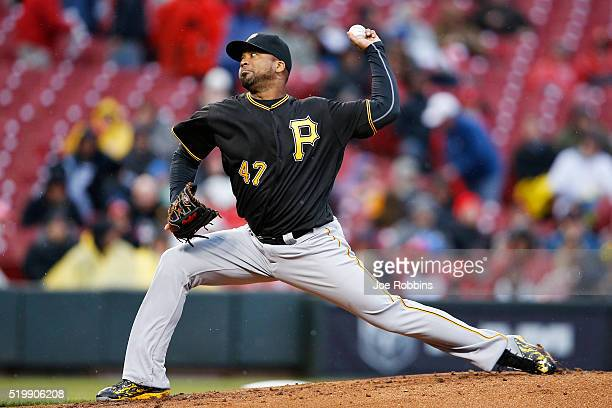 Francisco Liriano of the Pittsburgh Pirates pitches in the first inning of the game against the Cincinnati Reds at Great American Ball Park on April...