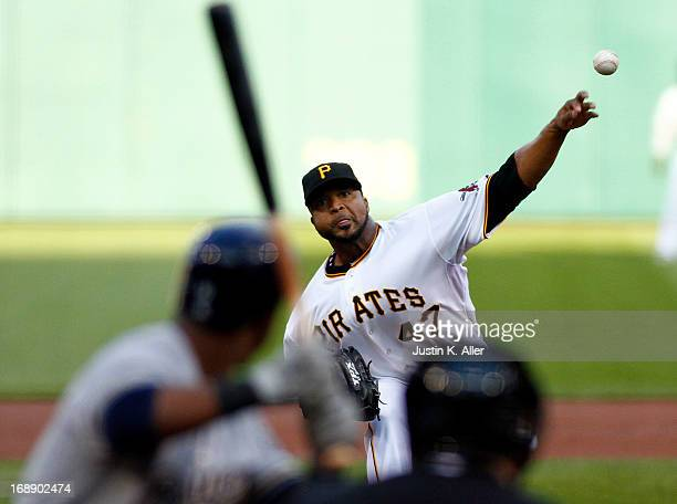Francisco Liriano of the Pittsburgh Pirates pitches in the first inning against the Milwaukee Brewers during the game on May 16 2013 at PNC Park in...