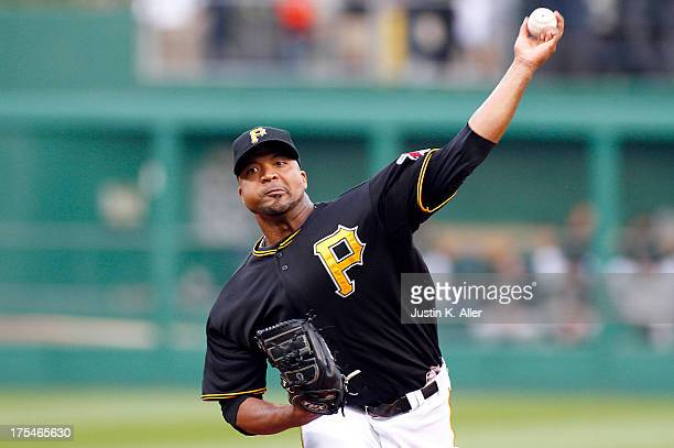Francisco Liriano of the Pittsburgh Pirates pitches in the first inning against the Colorado Rockies during the game on August 3 2013 at PNC Park in...
