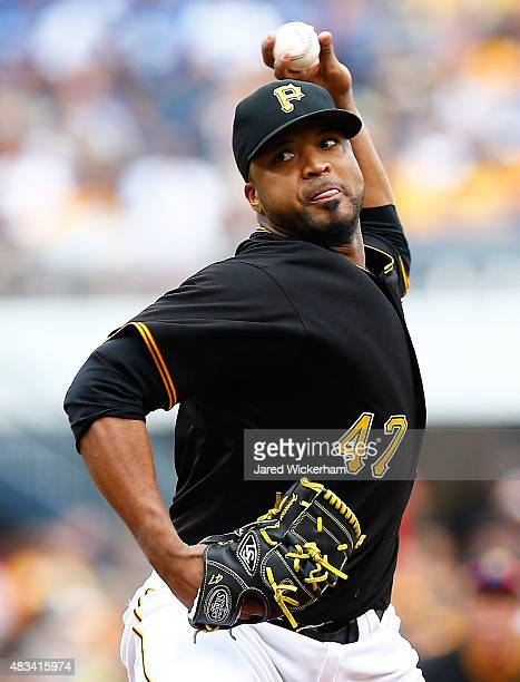 Francisco Liriano of the Pittsburgh Pirates pitches in the first inning against the Los Angles Dodgers during the game at PNC Park on August 8 2015...