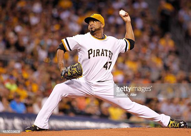 Francisco Liriano of the Pittsburgh Pirates pitches in the first inning during the game against the San Francisco Giants at PNC Park on August 23...