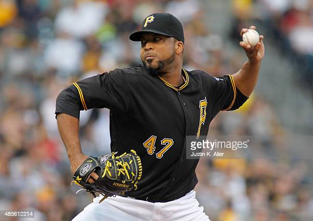 Francisco Liriano of the Pittsburgh Pirates pitches in the first inning during the game against the Colorado Rockies at PNC Park on August 28 2015 in...