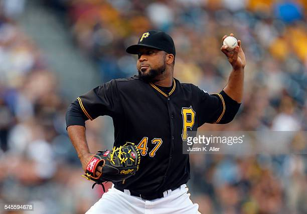 Francisco Liriano of the Pittsburgh Pirates pitches in the first inning during the game against the Chicago Cubs at PNC Park on July 8 2016 in...
