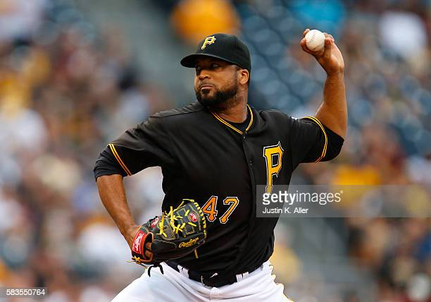 Francisco Liriano of the Pittsburgh Pirates pitches in the first inning during interleague play against the Seattle Mariners at PNC Park on July 26...