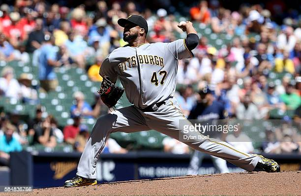 Francisco Liriano of the Pittsburgh Pirates pitches in the first inning against the Milwaukee Brewers at Miller Park on July 31 2016 in Milwaukee...