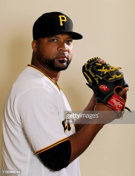 Francisco Liriano of the Pittsburgh Pirates poses for a portrait during the Pittsburgh Pirates Photo Day on February 20 2019 at Pirate City in...