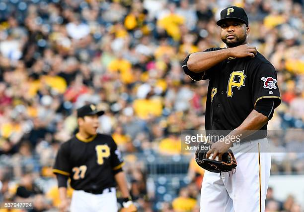Francisco Liriano of the Pittsburgh Pirates reacts after allowing a walk to load the bases in the first inning during the game against the Los...