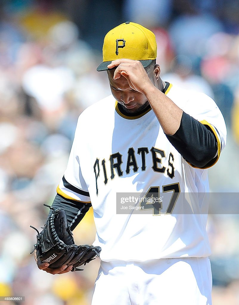 Francisco Liriano #47 of the Pittsburgh Pirates reacts after Anthony Rendon #6 of the Washington Nationals scored on a wild pitch during the fifth inning on May 25, 2014 at PNC Park in Pittsburgh, Pennsylvania. Washington won the game 5-2.