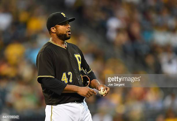 Francisco Liriano of the Pittsburgh Pirates reacts after giving up a RBI single to Brandon Crawford of the San Francisco Giants not pictured during...