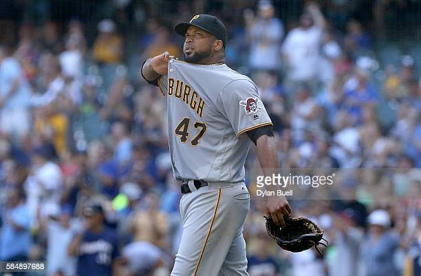 Francisco Liriano of the Pittsburgh Pirates reacts after giving up a home run to Chris Carter of the Milwaukee Brewers in the fifth inning at Miller...