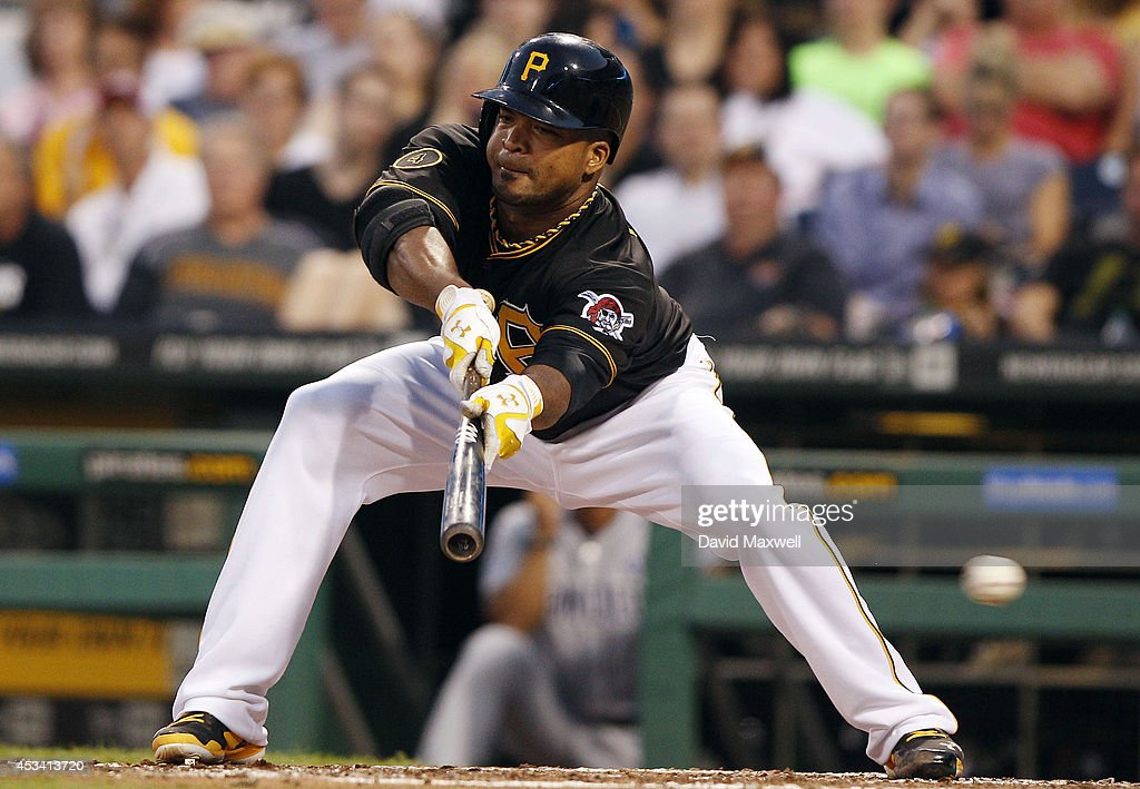 Francisco Liriano #47 of the Pittsburgh Pirates strikes out on a bunt attempt against the San Diego Padres during the fifth inning of their game on August 9, 2014 at PNC Park in Pittsburgh, Pennsylvania. The Padres defeated the Pirates 2-1.