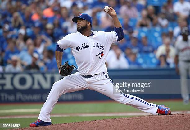 Francisco Liriano of the Toronto Blue Jays delivers a pitch in the first inning during MLB game action against the Houston Astros on August 12 2016...