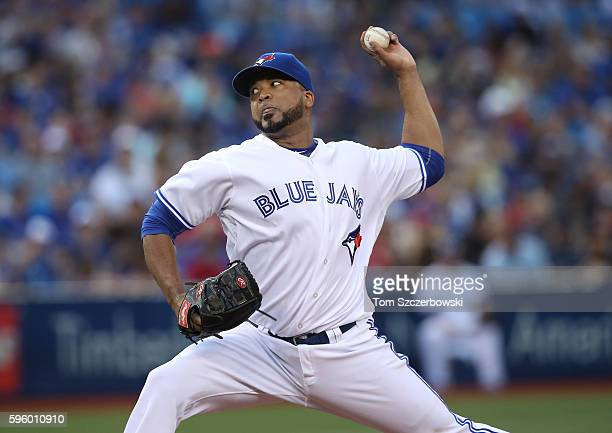 Francisco Liriano of the Toronto Blue Jays delivers a pitch in the second inning during MLB game action against the Minnesota Twins on August 26 2016...
