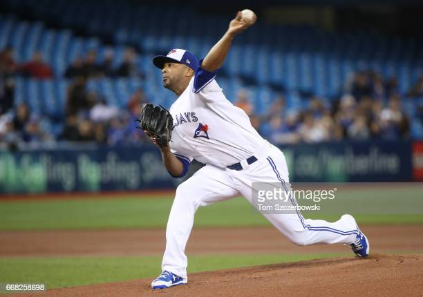 Francisco Liriano of the Toronto Blue Jays delivers a pitch in the first inning during MLB game action against the Baltimore Orioles at Rogers Centre...