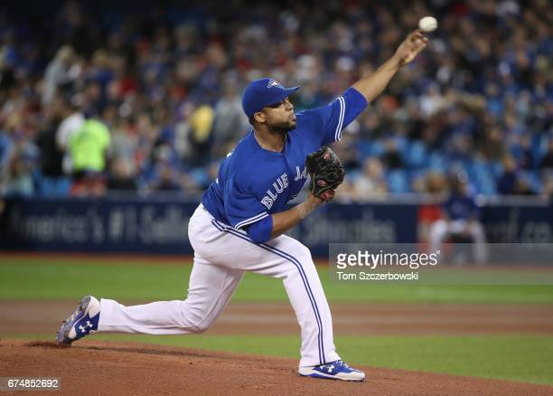 Francisco Liriano of the Toronto Blue Jays delivers a pitch in the first inning during MLB game action against the Tampa Bay Rays at Rogers Centre on...