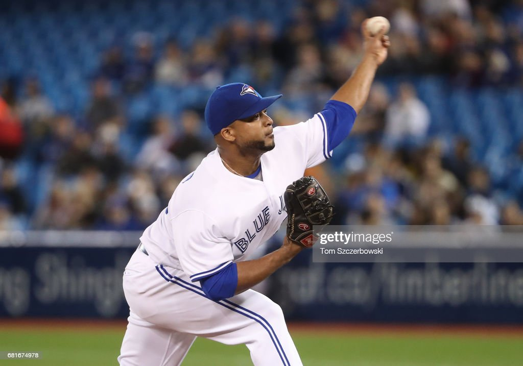 Francisco Liriano #45 of the Toronto Blue Jays delivers a pitch in the first inning during MLB game action against the Cleveland Indians at Rogers Centre on May 10, 2017 in Toronto, Canada.