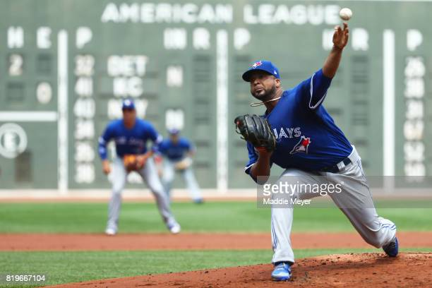 Francisco Liriano of the Toronto Blue Jays pitches against the Boston Red Sox during the first inning at Fenway Park on July 20 2017 in Boston...