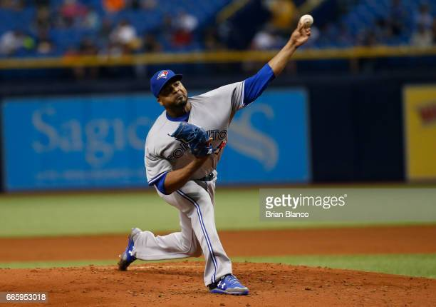 Francisco Liriano of the Toronto Blue Jays pitches during the first inning of a game against the Tampa Bay Rays on April 7 2017 at Tropicana Field in...