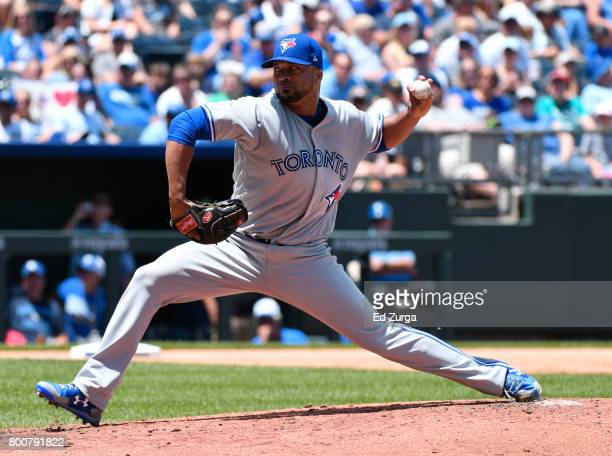 Francisco Liriano of the Toronto Blue Jays throws in the second inning against the Kansas City Royals at Kauffman Stadium on June 25 2017 in Kansas...