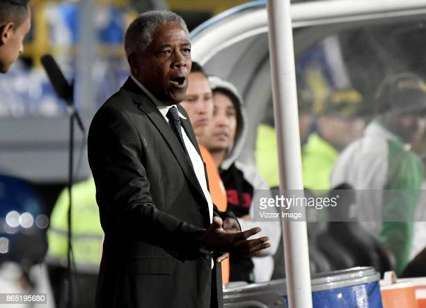 Francisco Maturana coach of Once Caldas gestures during a match between Millonarios and Once Caldas as part of the 16th round of Liga Aguila II 2017...