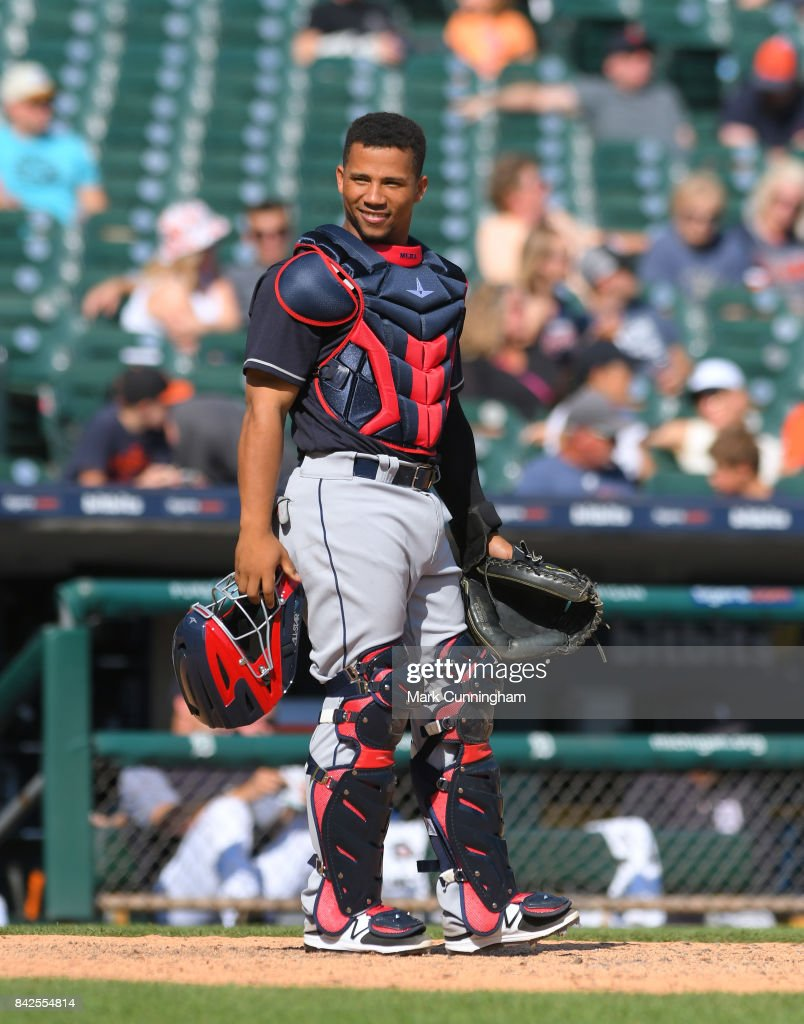 Francisco Mejia #33 of the Cleveland Indians looks on while catching during the game against the Detroit Tigers at Comerica Park on September 3, 2017 in Detroit, Michigan. The Indians defeated the Tigers 11-1.
