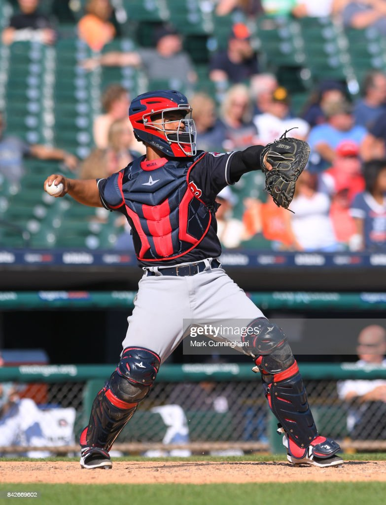Francisco Mejia #33 of the Cleveland Indians throws a baseball while catching during the game against the Detroit Tigers at Comerica Park on September 3, 2017 in Detroit, Michigan. The Indians defeated the Tigers 11-1.