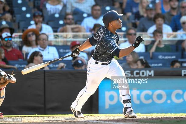 Francisco Mejia of the San Diego Padres hits a walk off grand slam in the ninth inning during game against the Texas Rangers at PETCO Park on...