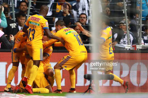 Francisco Meza of Tigres celebrates after scoring the second goal of his team during the second leg of the Torneo Apertura 2017 Liga MX final between...