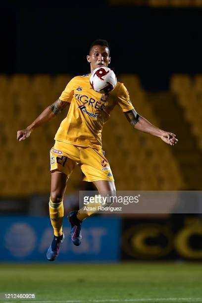 Francisco Meza of Tigres controls the ball in the air during the 10th round match between Tigres UANL and FC Juarez as part of the Torneo Clausura...
