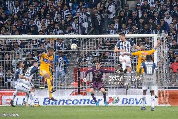 Francisco Meza of Tigres heads the ball to score his team's second goal during the second leg of the Torneo Apertura 2017 Liga MX final between...