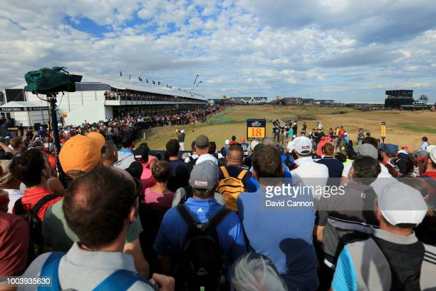 Francisco Molinari of Italy plays his tee shot on the 18th hole during the final round of the 147th Open Championship at Carnoustie Golf Club on July...