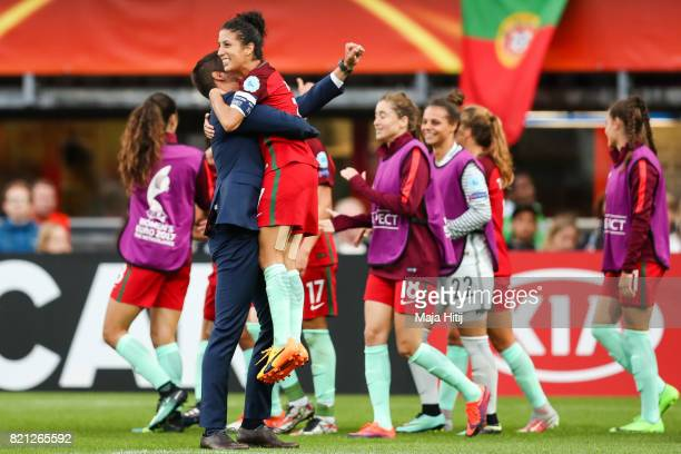 Francisco Neto head coach of Portugal and Claudia Neto celebrate after the UEFA Women's Euro 2017 Group D match between Scotland v Portugal at Sparta...