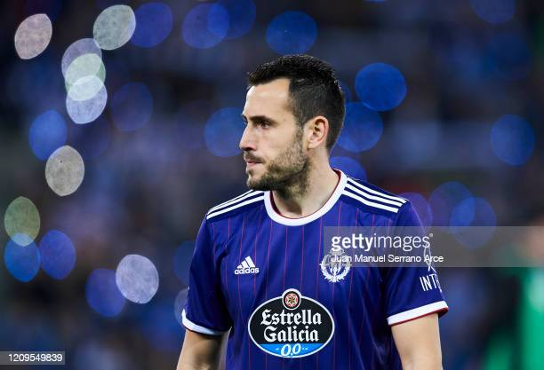 Francisco Olivas of Real Valladolid CF reacts during the Liga match between Real Sociedad and Real Valladolid CF at Estadio Anoeta on February 28...