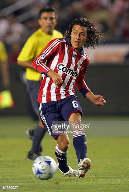 """Francisco """"Panchito"""" Mendoza of CD Chivas USA makes a pass on the attack against the New York Red Bulls during their MLS match at the Home Depot..."""