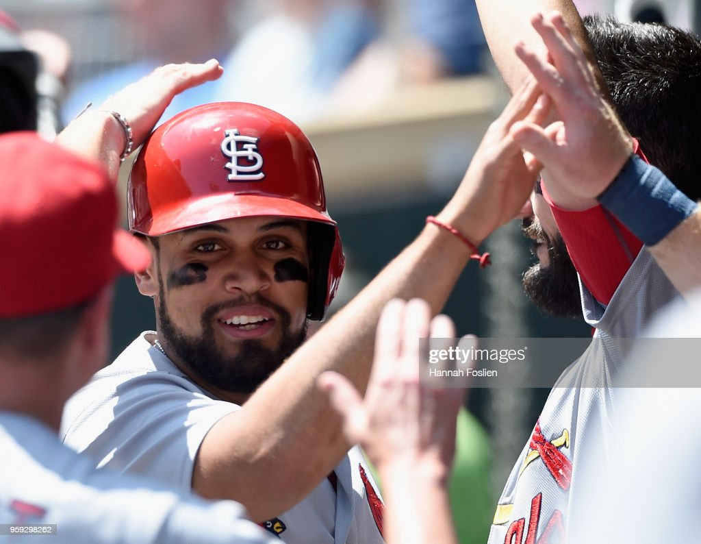 Francisco Pena #46 of the St. Louis Cardinals celebrates scoring a run against the Minnesota Twins during the second inning of the interleague game on May 16, 2018 at Target Field in Minneapolis, Minnesota. The Cardinals defeated the Twins 7-5.